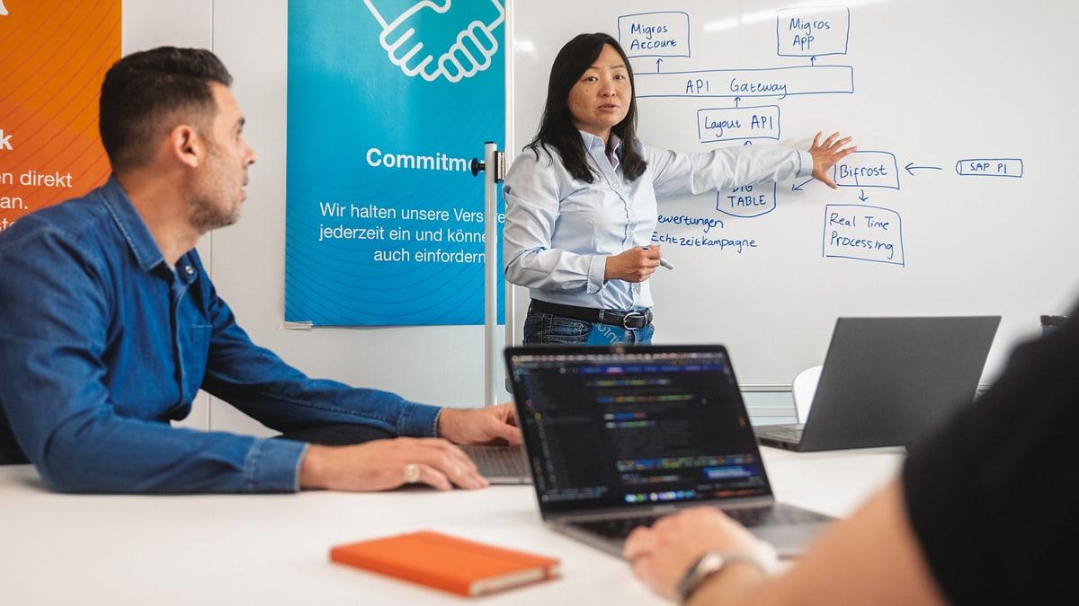 Frau erläutert Systemarchitektur Kollegen in Sitzungszimmer