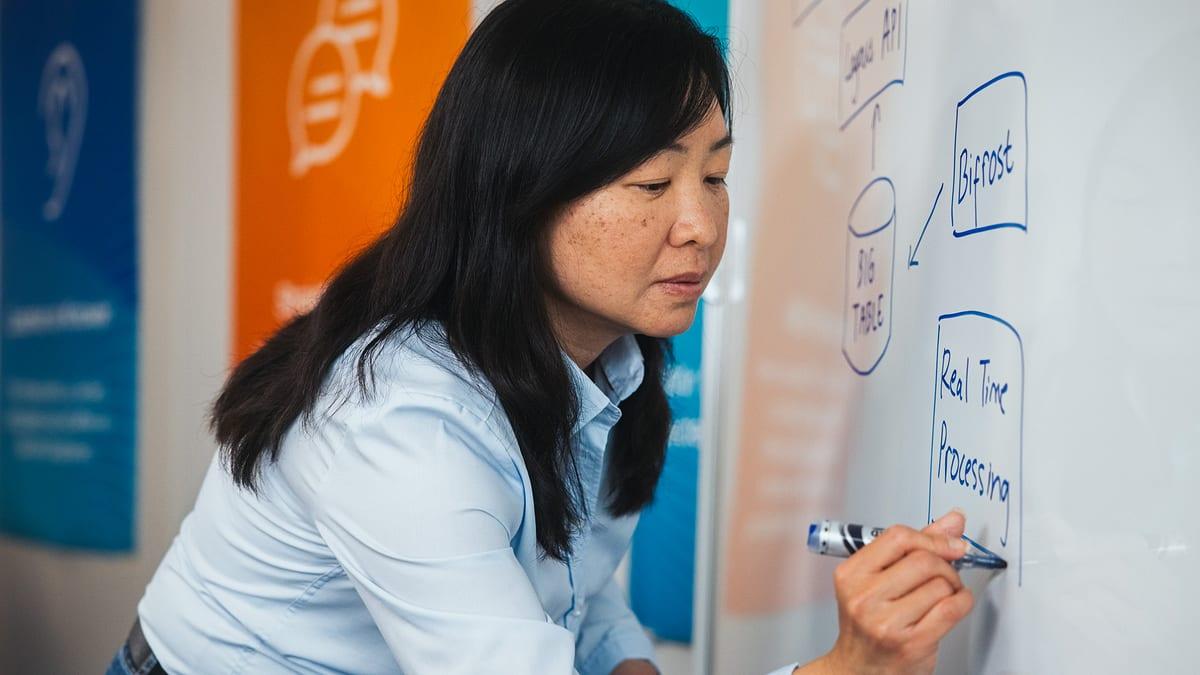 Frau Zeichnet Systemarchitektur auf Whiteboard